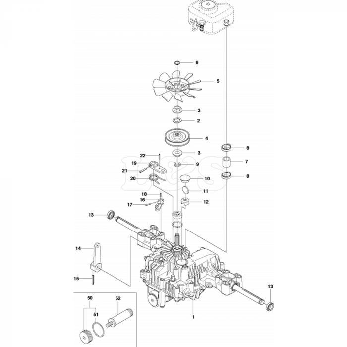 Transmission Assembly-2 for Husqvarna R316 TXs AWD Riders