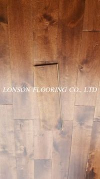 Birch solid hardwood wooden flooring, handscraped and