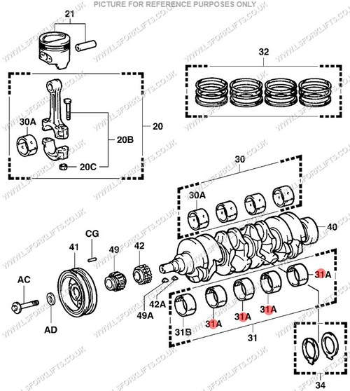 TOYOTA 4Y BEARING SET, CRANKSHAFT MAINS STD (LS6092