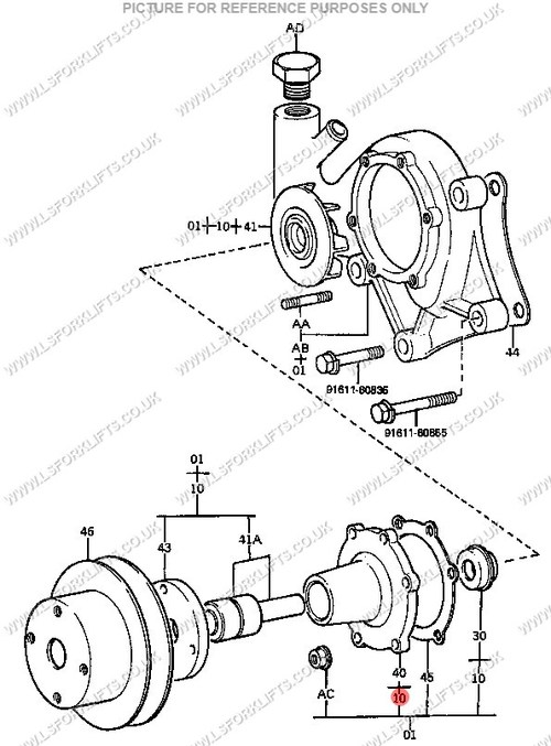 TOYOTA WATER PUMP (USED 0478-1078 & 0582-0886) (LS6023