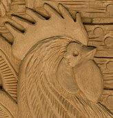 Hen and Rooster Relief Wood Carving