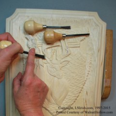 shaping a relief wood carving