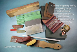 Sharpening stones and leather strops used in wood carving and whittling