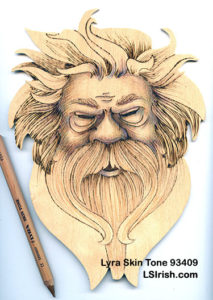 colored pencils and pyrography