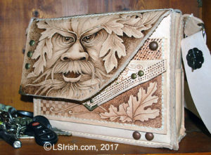 Leather Purse Pyrography, Greenman Project by Lora Irish
