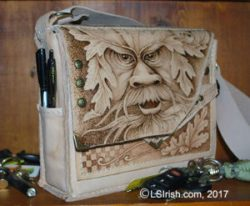 pyrography burned leather purse