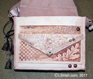 leather pyrography greenman purse