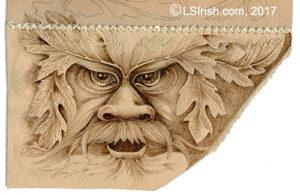 leather burning the wood spirit face