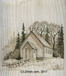 Wood burning a landscape, church, by L S Irish