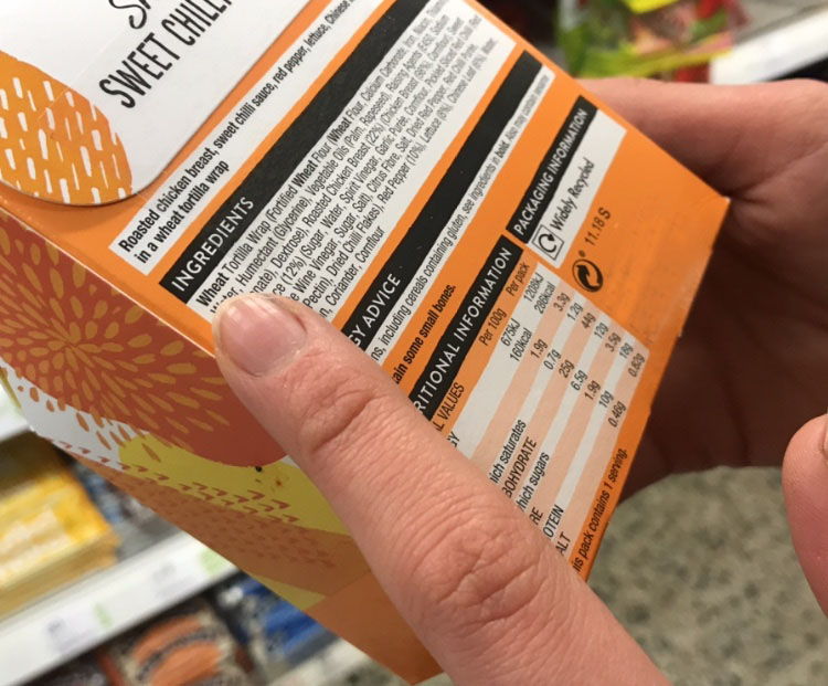 Packaging of food containing wheat and gluten.