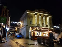 Cornhill Quarter lit-up. The Santander bank was covered in festive decorations.