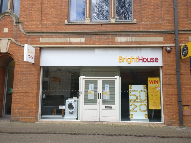 BrightHouse store front, on St Benedicts' Square stands proudly regardless of its collapse.
