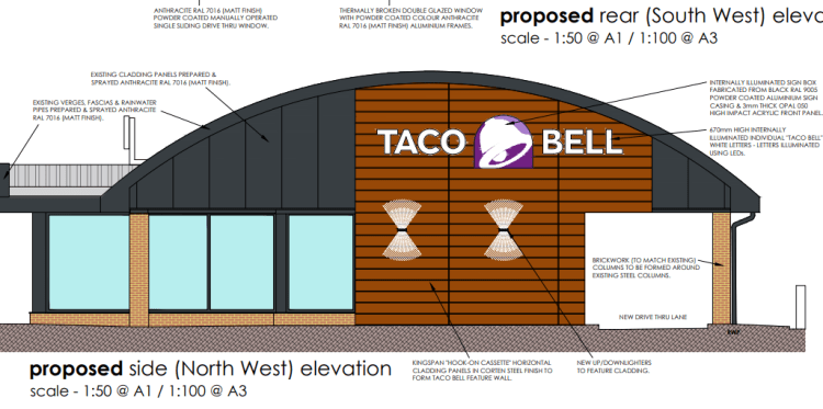 Artist's impression of the front of the restaurant with drive-thru lane.