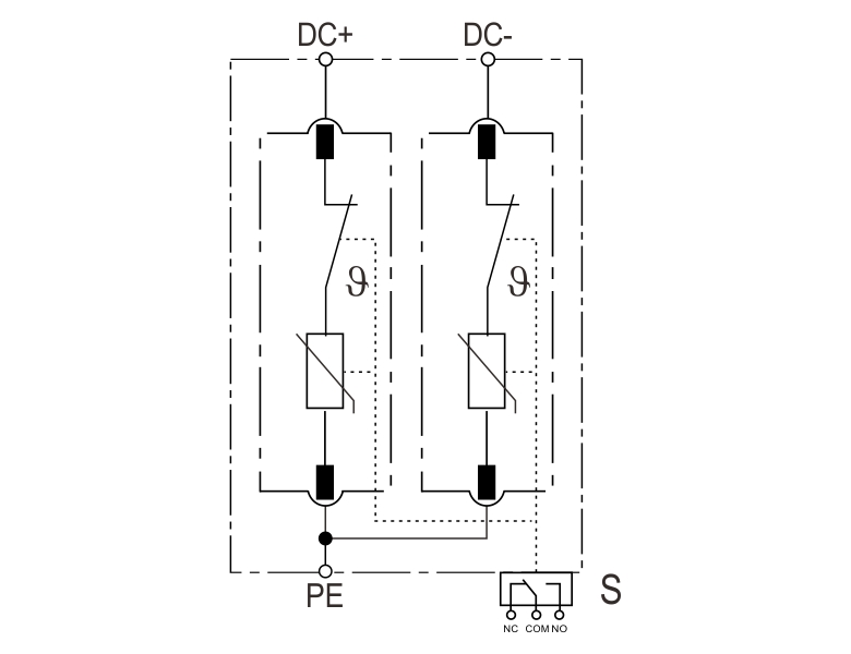 Basic circuit diagram-T2 PV Surge Protection Device SLP-PV