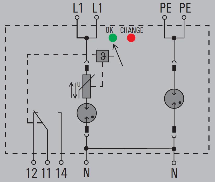Basic circuit diagram Weidmuller VPU I 1+1-R LCF 280V-25kA
