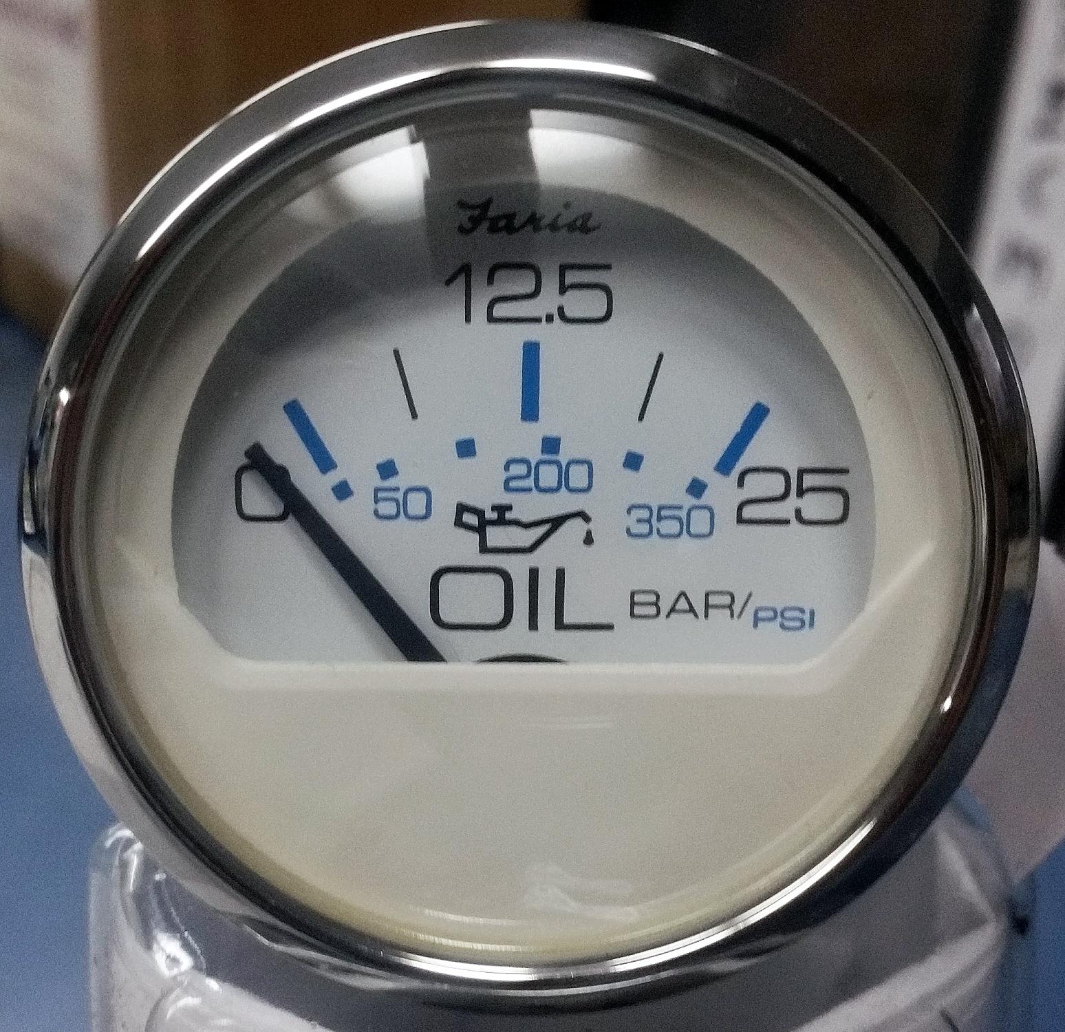 Faria Chesapeake White SS Transmission Pressure 25 Bar/350 PSI Metric-  13826 - Lauderdale Speedometer