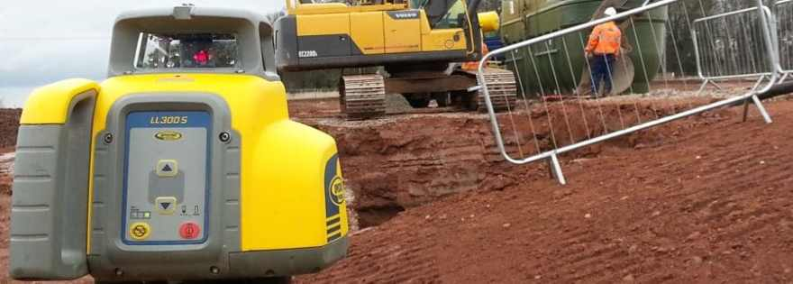 Spectra Physics  LL 300 S Rotating Laser Level providing level information on site for a waste tank installation