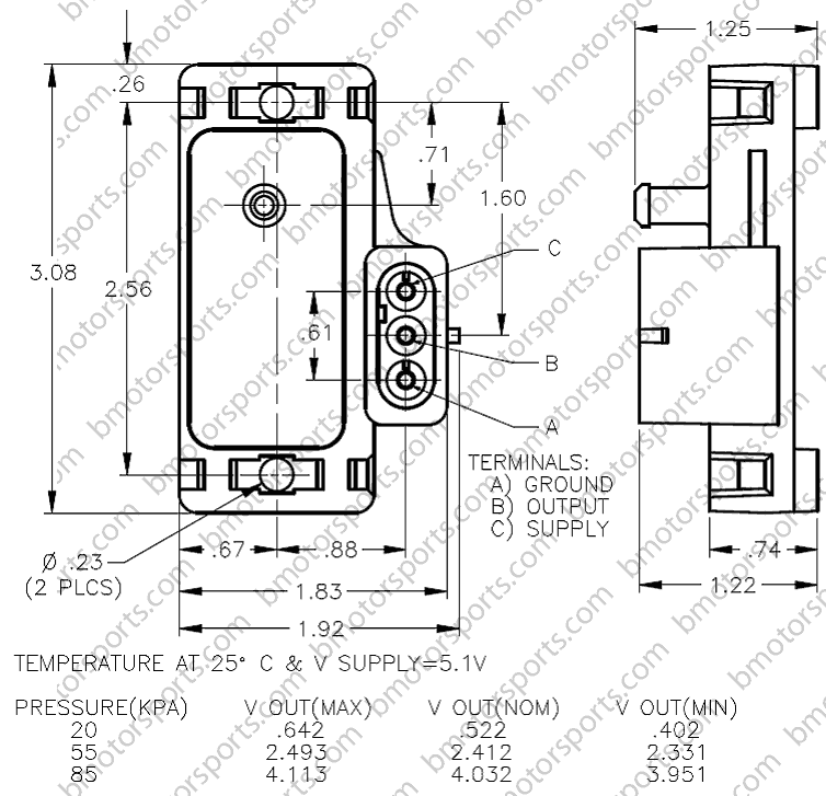 Home » Shop » GM / Delphi » Delphi / GM 1 Bar Map Sensor