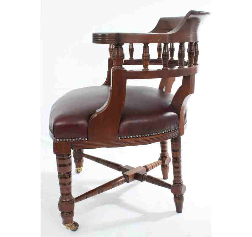Antique Mahogany Leather Desk Chair  LT Antiques