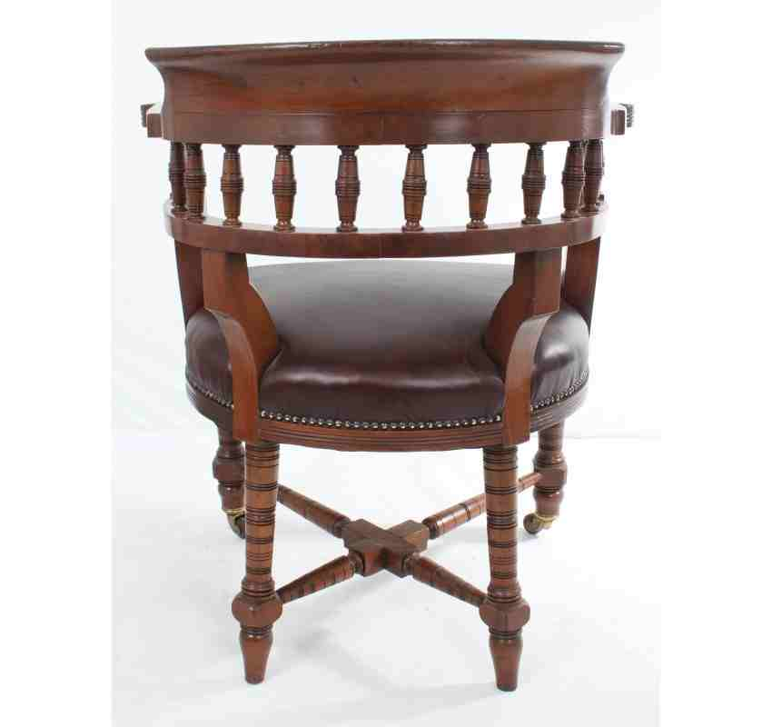 tub chair brown leather garden rocking covers antique mahogany desk | lt antiques