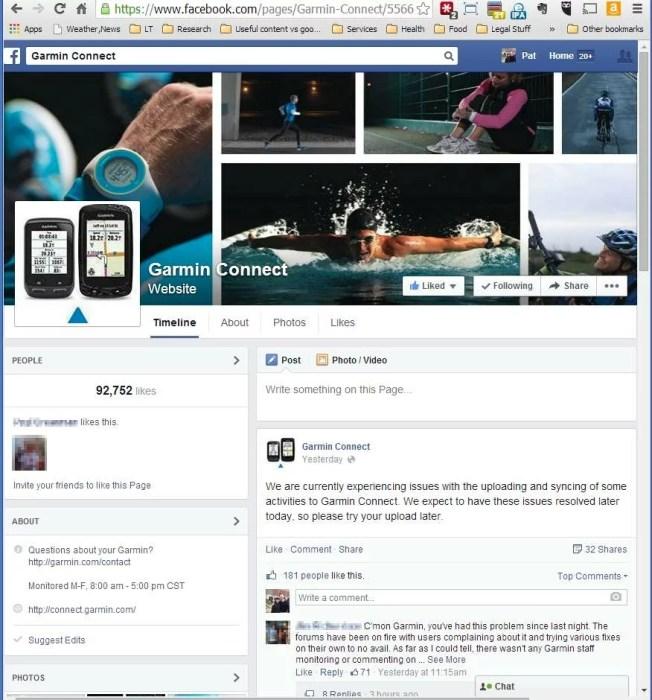 facebook page for Garmin Connect