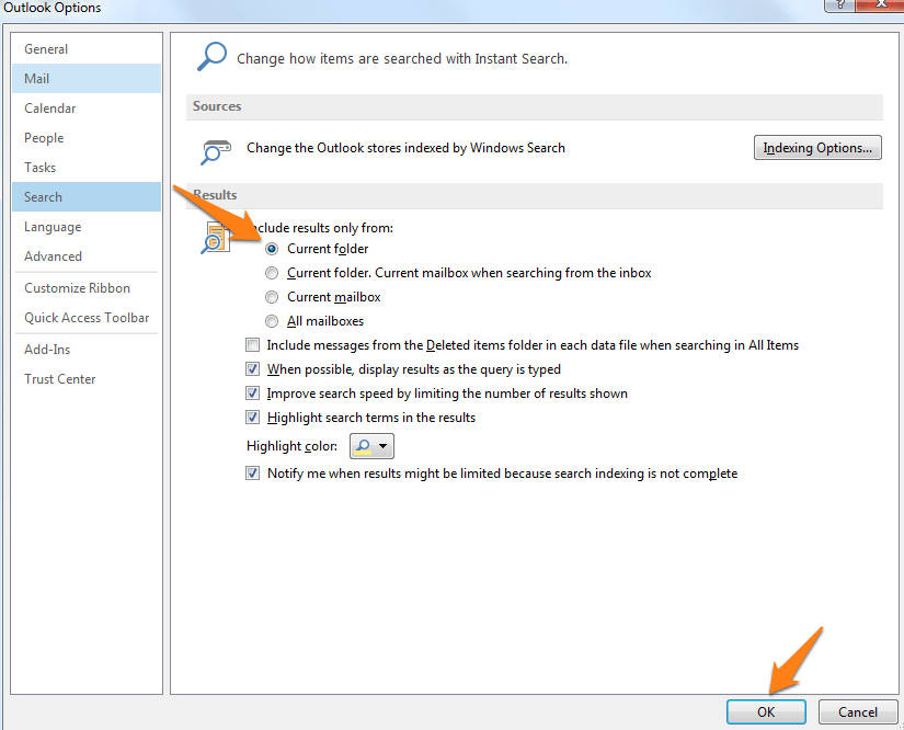 outlook 2013 search options current folder
