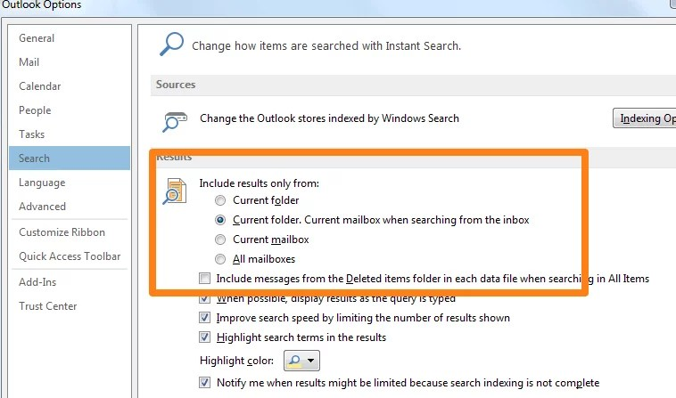 outlook 2013 search options defaults