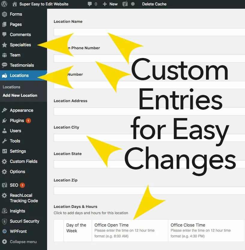 Custom CMS fields for easy website changes and edits