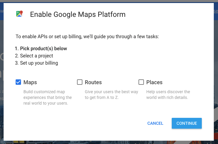 Enable the Google Maps Platform