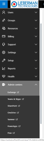 hosted exchange admin menu