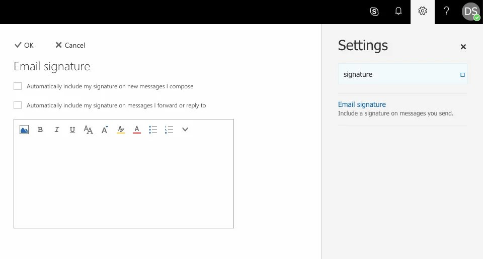 edit your online mail signature office 365