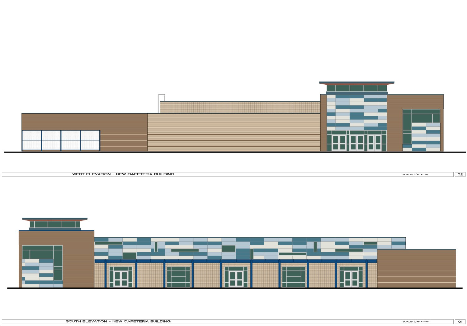 Sterling High School Addition and Renovations - Elevation drawings