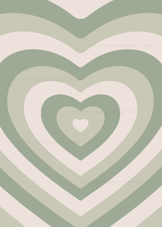 Sage green aesthetic heart background