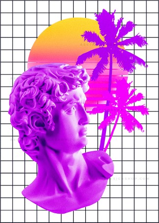 Vaporwave collage with statue, palm trees and sunset 80s style