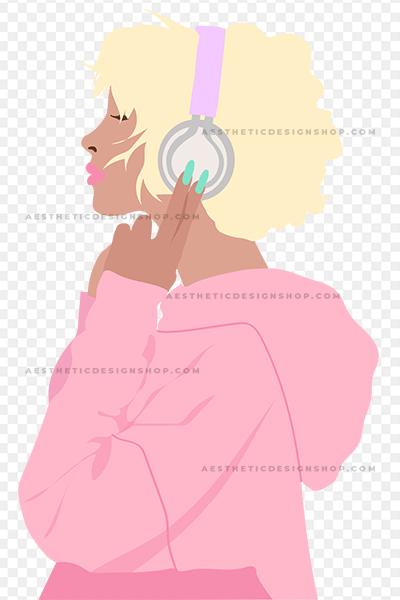 Pastel Illustration of Girl with Headphones