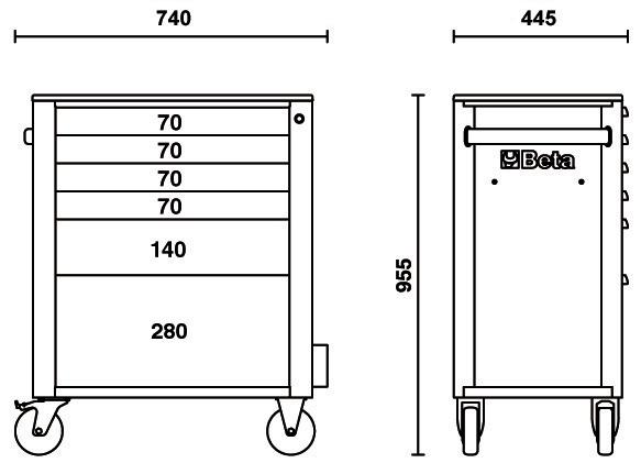 carrello portautensili beta 6 cassetti dimensioni
