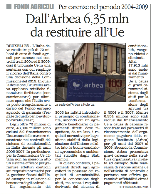 ARBEA quotidiano 13 11 2015