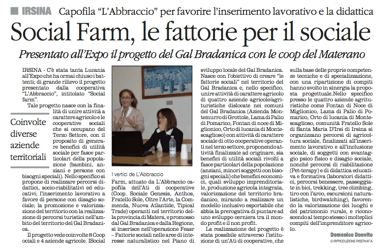 SOCIAL FARM quotidiano 13 11 2015