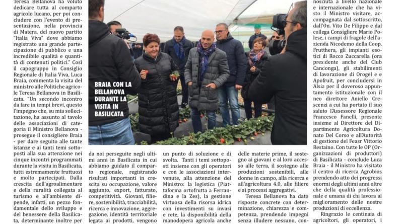 Ministro Bellanova in Basilicata – Rassegna Stampa
