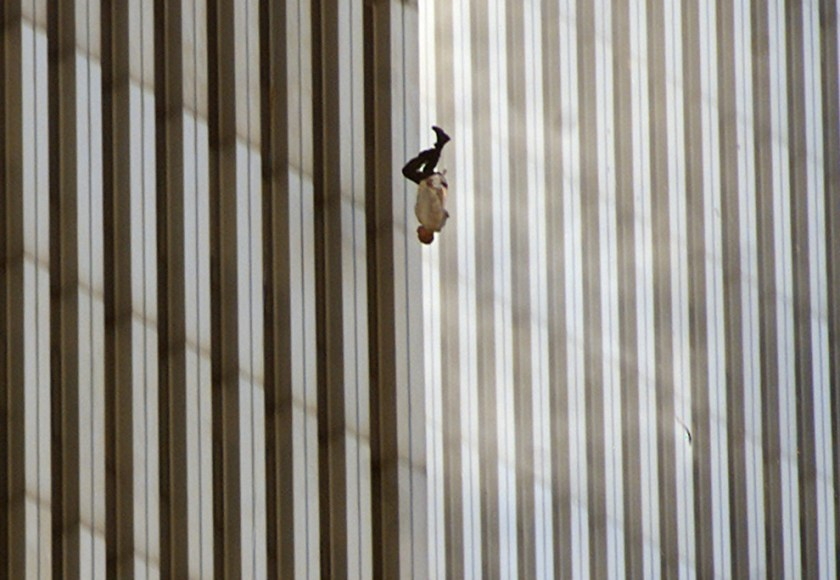 A person falls from the north tower of New York's World Trade Center in this Sept. 11, 2001 file photo, after terrorists crashed two hijacked airliners into the World Trade Center and brought down the twin 110-story towers. (AP Photo/Richard Drew)