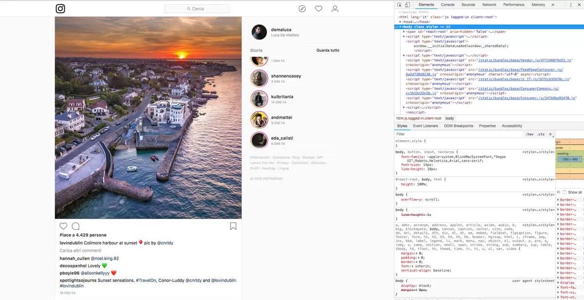 Codice sorgente Instagram