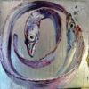 2009 - Pittura lavabile su legno rivestito in foglia argento 40x40. Water paint on silver leaf on wood 40x40.