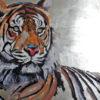 2009 - Pittura lavabile su legno rivestito in foglia argento 120x60. Water paint on silver leaf on wood 120x60.