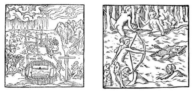 La coltivazione della manioca, fuori dal villaggio (a sinistra) e una scena di pesca (sulla destra). Incisioni della prima edizione del Viaggio in Brasile di Hans Staden