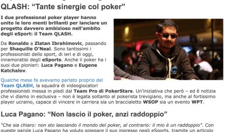 "eSports, Luca Pagano e Eugene Katchalov insieme nel Team QLASH: ""Tante sinergie col poker"" – Pokerlistings, 2017"