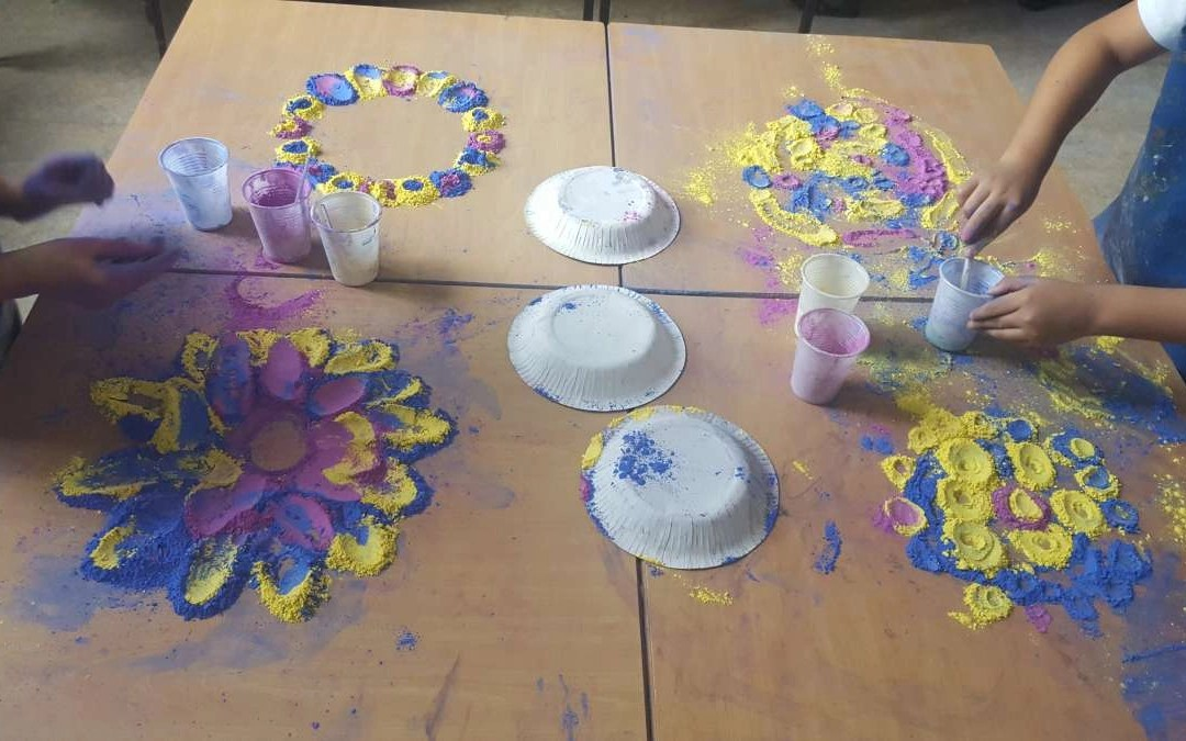 Rangoli patterns using Powder Paint