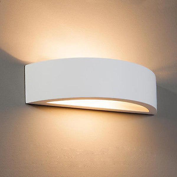 APPLIQUE IN GESSO LAMPADA A PARETE MODERNO ATTACCO E27 CON VETRO ArtLV55  Luceled