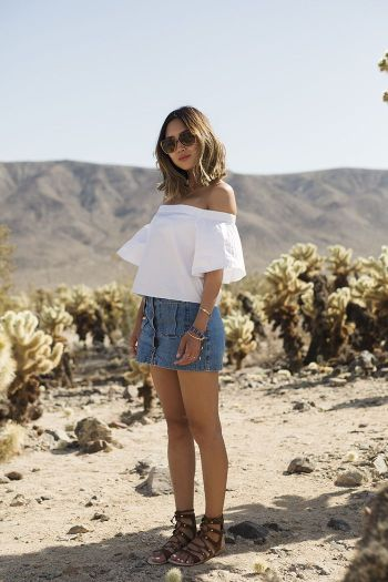 aimee_song_white_off_the_shoulder_top_denim_button_down_skirt_lace_up_sandals_chloe_sunglasses