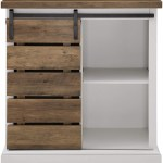 Lucgo Modern Farmhouse Buffet Sideboard Kitchen Dining Storage Cabinet Living Room 32 Inch Reclaimed Barnwood Brown