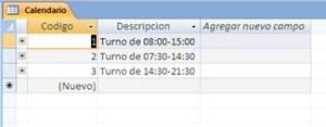 Tabla de turnos de trabajo con pocos registros